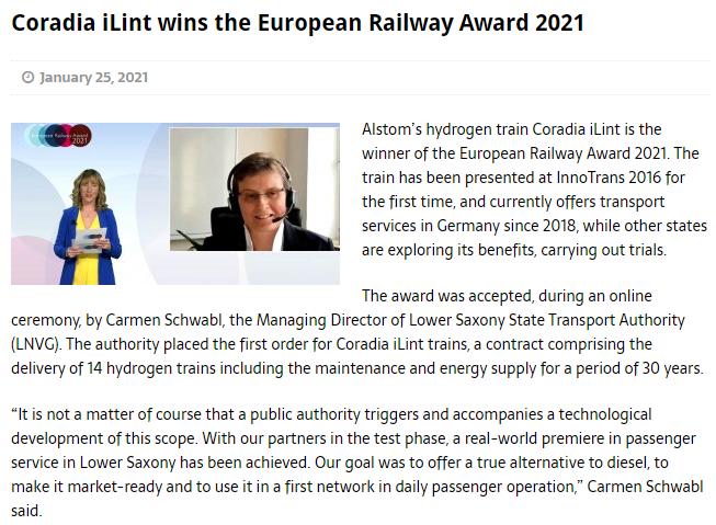 Coradia iLint wins the European Railway Award 2021 (Railway PRO)
