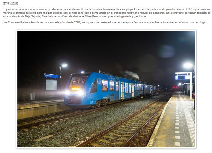 """El Coradia iLint de Alstom premiado con el """"European Railway Award 2021"""" (Via Libre)"""