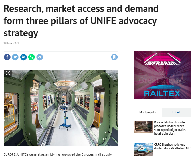 Research, market access and demand form three pillars of UNIFE advocacy strategy (Railway Gazette)