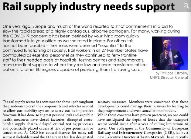 Rail supply industry needs support (Railway PRO)