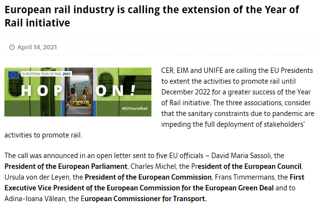 European rail industry is calling the extension of the Year of Rail initiative (Railway Pro)