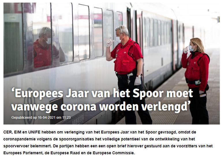 'Europees Jaar van het Spoor moet vanwege corona worden verlengd' (Spoorpro)