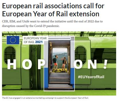 European rail associations call for European Year of Rail extension (IRJ)