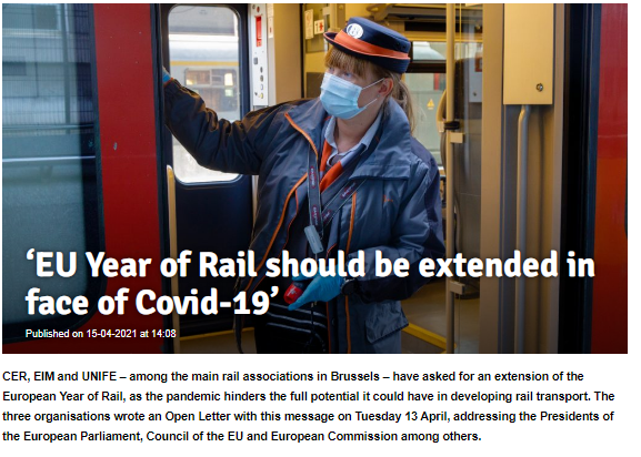 'EU Year of Rail should be extended in face of Covid-19' (RailTech)