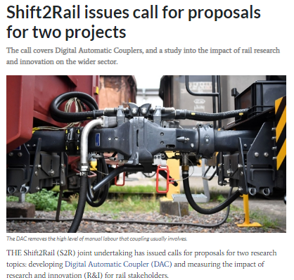 Shift2Rail issues call for proposals for two projects (IRJ)