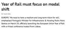 Year of Rail must focus on modal shift (Railway Gazette)