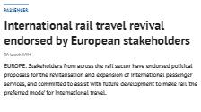 International rail travel revival endorsed by European stakeholders (Railway Gazette)