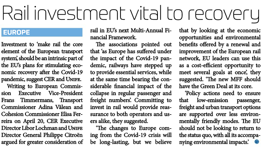 Rail investment is vital to recovery (Railway Gazette)