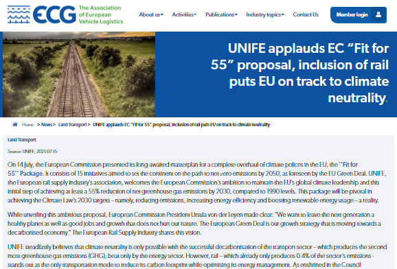 """UNIFE applauds EC """"Fit for 55"""" proposal, inclusion of rail puts EU on track to climate neutrality (ECG)"""