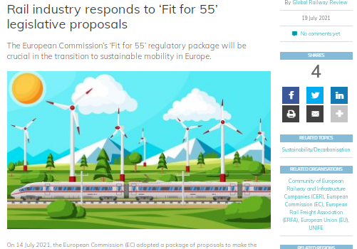 Rail industry responds to 'Fit for 55' legislative proposals (Global railway review)