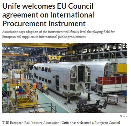 Unife welcomes EU Council agreement on International Procurement Instrument (IRJ)