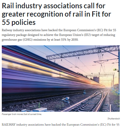 Rail industry associations call for greater recognition of rail in Fit for 55 policies (IRJ)