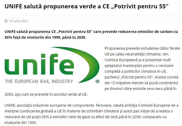 """UNIFE salută propunerea verde a CE """"Potrivit pentru 55"""" (Club Feroviar)"""